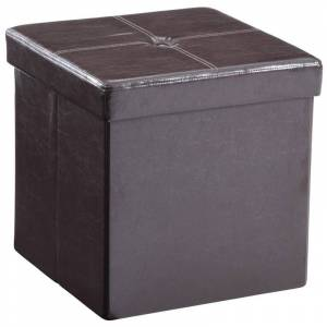 Pemberly Row Faux Leather Storage Ottoman in Brown