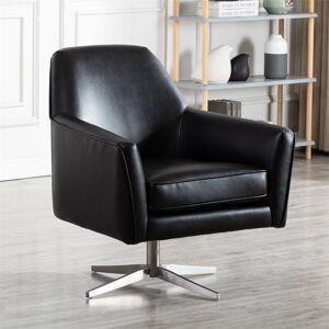 Comfort Pointe Phoenix Black Faux Leather Swivel Armchair