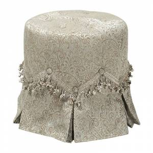 Taylor Polly Tufted Round Vanity Stool Pleated Skirt Teal Tan