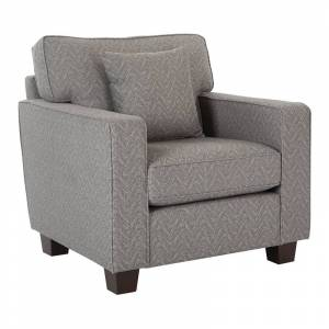 OSP Home Furnishings Starling Chair with One Pillow in Usher Gray Mica Fabric with Coffee legs