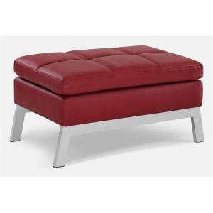 Coddle Toggle Faux Leather and Solid Wood Base Ottoman in Crimson