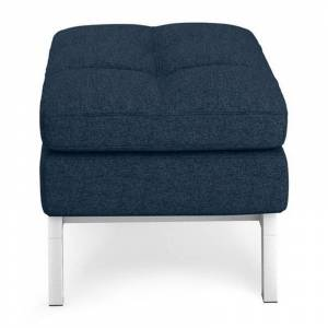 Coddle Toggle Polyester Fabric and Solid Wood Base Ottoman in Indigo