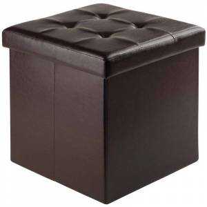 Winsome Ashford Faux Leather Storage Cube Ottoman in Espresso