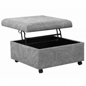 Coaster Lift Top Mobile Storage Ottoman in Gray and Black