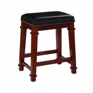 Linon Kennedy 24 Wood Counter Stool in Cherry Brown