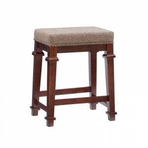 Linon Kennedy Tweed 24 Wood Backless Counter Stool in Walnut Brown