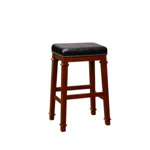 Linon Kennedy 30 Wood Backless Bar Stool in Cherry Brown