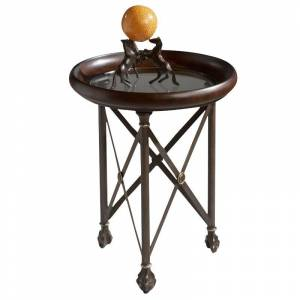Butler Specialty Metalworks Glass Top Accent Table in Dark Brown