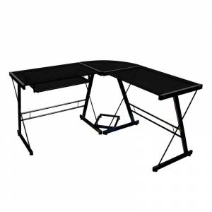Walker Edison Corner L-Shaped Glass Top Computer Desk in Black