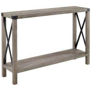 Walker Edison 46 inch Metal X Entry Table in Grey Wash