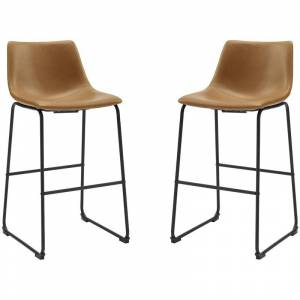 Walker Edison 30 Faux Leather Barstool 2 pack - Whiskey Brown