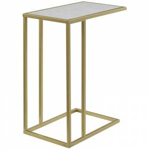 Walker Edison 20 Side C-Table in White Faux Marble and Gold
