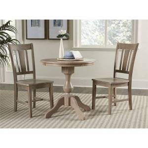 International Concepts 3 Piece 30 Round Dining Set in Washed Gray