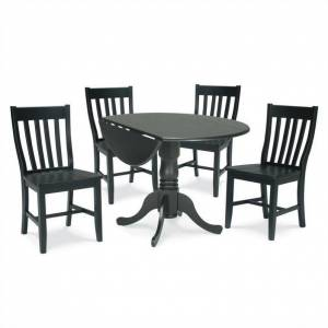 International Concepts 5 Piece Schoolhouse Dining Set in Black