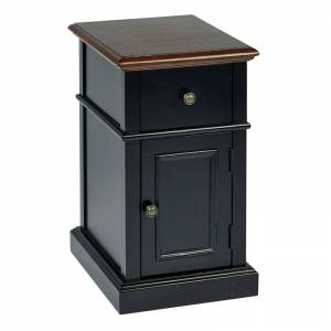 Office Star Oxford Chair Side Table in Two Tone Finish Black Body and Cherry Top Finish