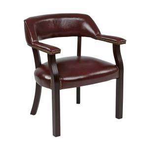 Office Star Traditional Guest Chair in Oxblood Red Vinyl