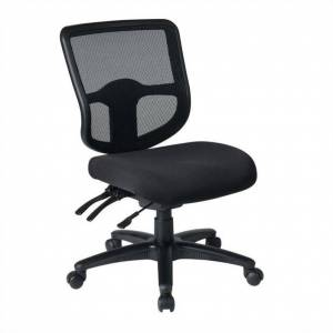 Office Star Ergonomic Task Office Chair with ProGrid Back in Coal Black Fabric