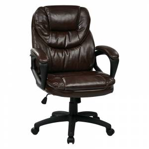 Office Star Faux Leather Chocolate Brown Managers Chair with Padded Arms
