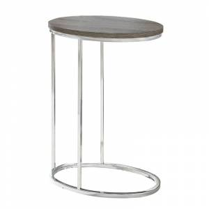 Monarch Accent End Table in Dark Taupe and Chrome