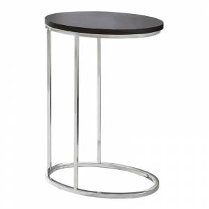 Monarch Accent End Table in Cappuccino and Chrome