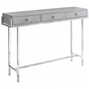 Monarch 3 Drawer Accent Console Table in Gray and Chrome