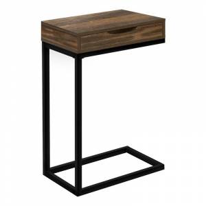 Monarch 1 Drawer Reclaimed Look End Table in Brown and Black