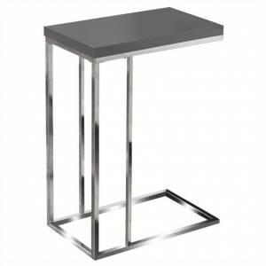 Monarch Hollow-Core Accent Table in Glossy Gray