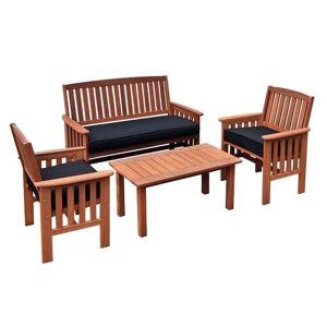CorLiving Miramar 4 Piece Hardwood Conversation Set in Cinnamon Brown