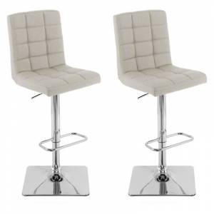 CorLiving Oatmeal Fabric Adjustable Barstool (Set of 2)