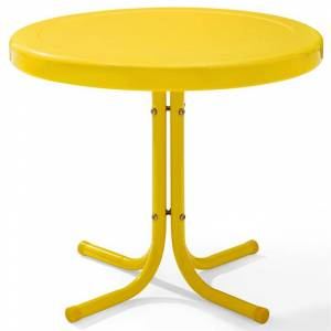 Crosley Furniture Crosley Retro Metal Patio End Table in Yellow