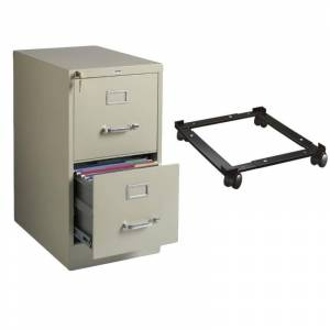 Hirsh Industries LLC 2 Drawer Vertical Letter File Cabinet and Adjustable File Mobile Caddy