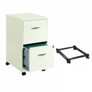 Hirsh Industries LLC 2 Piece Mobile Metal File Cabinet and Adjustable Mobile File Caddy