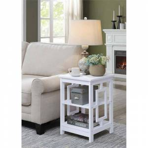 Convenience Concepts Town Square End Table in White Wood Finish