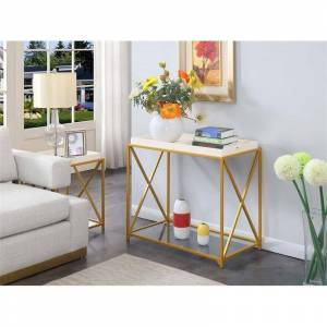 Convenience Concepts St. Andrews Console Table in Gold Metal Frame