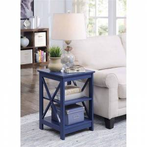 Convenience Concepts Oxford Square End Table in Blue Wood Finish