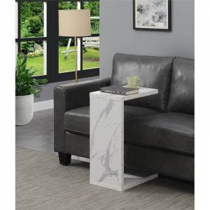 Convenience Concepts Northfield Admiral C End Table in Faux White Marble Wood