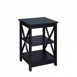 Convenience Concepts Oxford Square End Table in Black Wood Finish