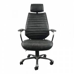 Moe's Home Collection Moe's Leather Executive Office Chair in Black