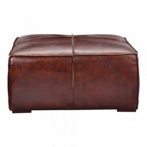 Moe's Home Collection Moe's Stamford Leather Ottoman Coffee Table in Brown