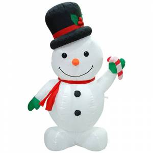 Jeco Inc. Jeco Inflatable Snowman Decor in White and Black