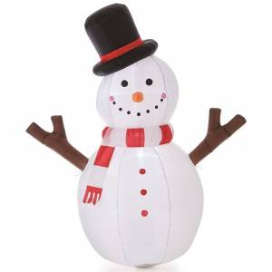 Jeco Inc. Jeco Inflatable Tree Hand Snowman Decor in White and Black