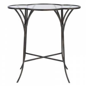 Uttermost Adhira Glass Accent Table in Aged Black