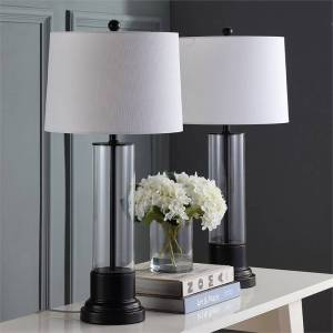 Safavieh Jayse Table Lamp in Black and White (Set of 2)