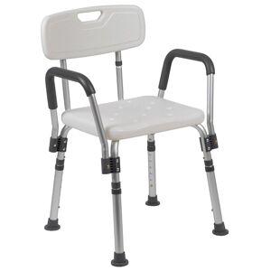 Flash Furniture Hercules Adjustable Plastic Quick Release Bath Chair in White