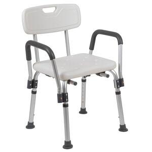 Flash Furniture Hercules Plastic Adjustable Bath Chair in White