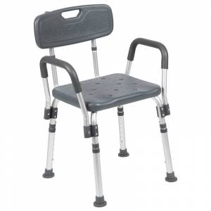Flash Furniture Hercules Plastic Quick Release Bath Chair in Gray