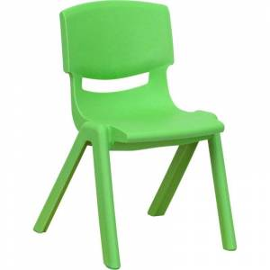 Flash Furniture 12 Modern Plastic Stacking Kids Chair in Green