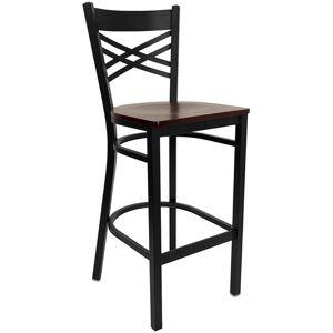 Flash Furniture Hercules 29 Black Back Metal Bar Stool in Mahogany