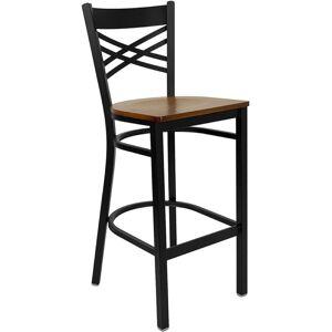 Flash Furniture Hercules 29 Black Back Metal Bar Stool in Cherry