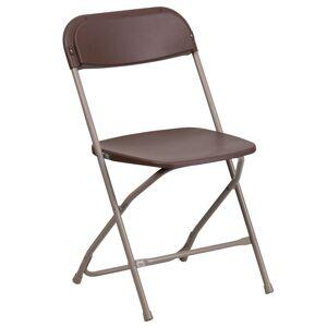 Flash Furniture Hercules Plastic Folding Chair in Brown